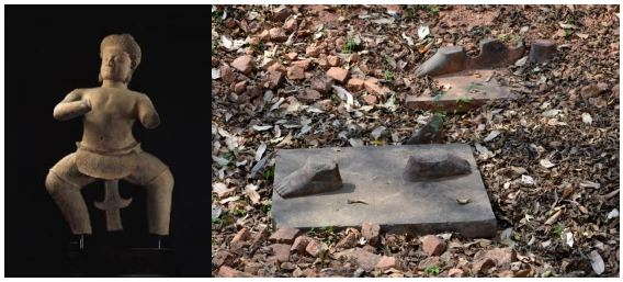 10 th century Khmer statue held by Sotheby's. Right: feet of the statue left behind by looters at Koh Ker.