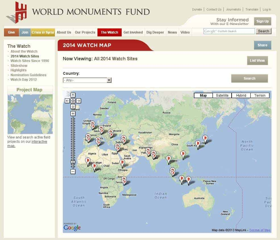 World Monuments Fund 2014 watchlist
