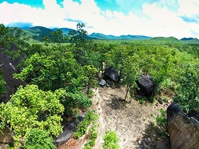 Drone view over the Gabarni rock art site.