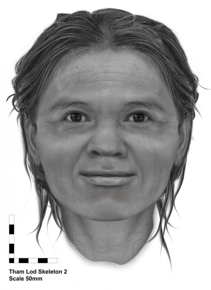Facial reconstruction of a woman from Pleistocene Thailand