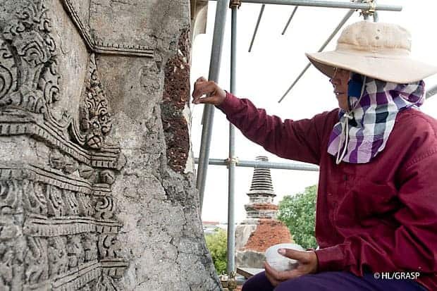 Feature on the stone conservation at Ayutthaya