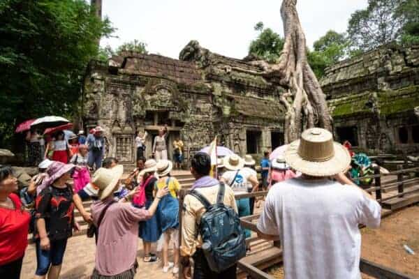 Tourists in Angkor in 2019. Stock photos from Shutterstock/kitzcorner