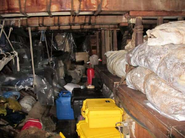 The cargo hold underneath the deck in the video, that smells like rotten eggs.