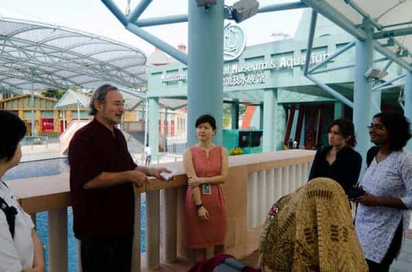 Prof. John Miksic talking to students from the Nalanda-Sriwijaya Centre Field School participants at the Maritime Experiential Museum