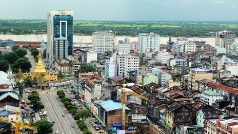 Yangon's changing landscape. Source: BBC News, 20150209