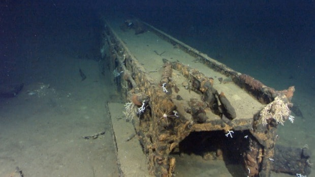 Remains of the catapult ramp from the Musashi. Source: Sydney Morning Herald 20150403