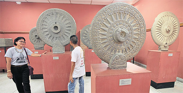 Dvaravati Wheels of Law at the Nakhon Pathom Museum. Source: Bangkok Post 20150507