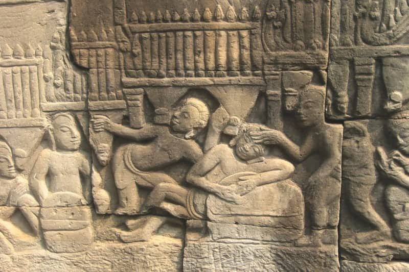 Bas-relief of Angkorian medical care. Source: Cambodia Daily 20150822