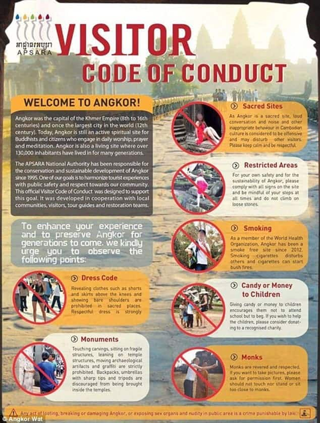 Angkor tourist code of conduct. Source: Daily Mail 20151114