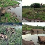 Khmer ruins emerge from pond in hot season
