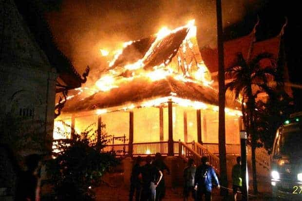 Fire guts 120-year-old sermon hall in Nakhon Phanom