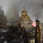 Ayutthaya temple fire damages ancient Buddha statue