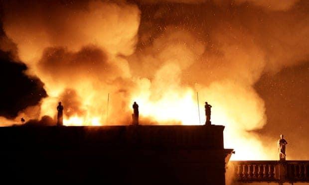 Brazil Museum fire Photograph: Ricardo Moraes/Reuters
