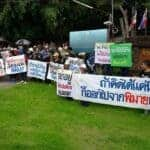 Villagers opposed to the declaration of Phimai municipality, with its iconic Khmer temple ruins, as a historical site rally in front of the local fine arts office, demanding the chief's removal, on Tuesday.(Source: Prasit Tangprasert, Bangkok Post 20180919