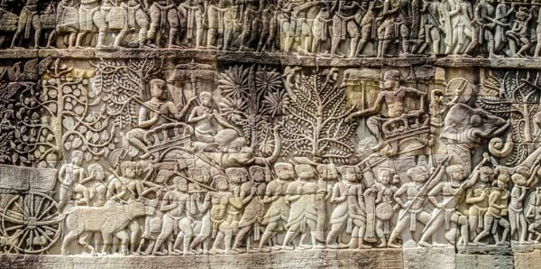 Bas relief sculpture at the Bayon Temple, Angkor Thom, Seam Reap. Source: Jak149 / Shutterstock