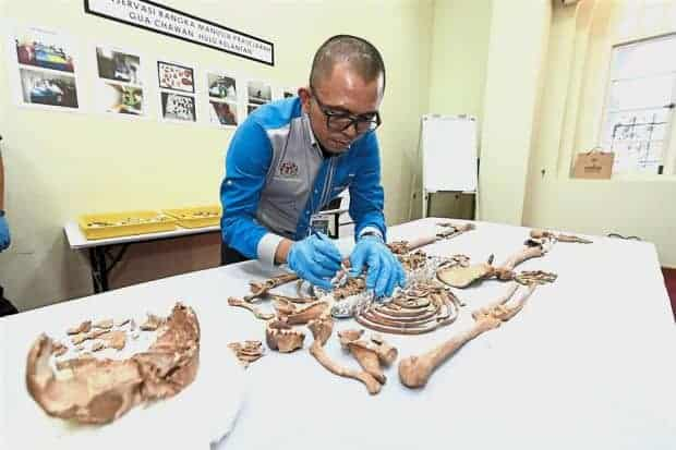 Department of National Heritage senior museum assistant Khairil Amri Abd Ghani examining the skeleton found in Gua Chawan, Kelantan. Source: The Star, 20181218