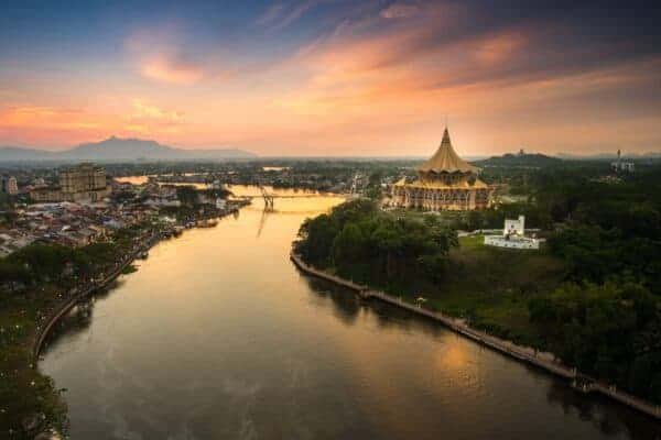 Kuching City and the Sarawak River. Stock photos from Shutterstock / Hashim mahrin