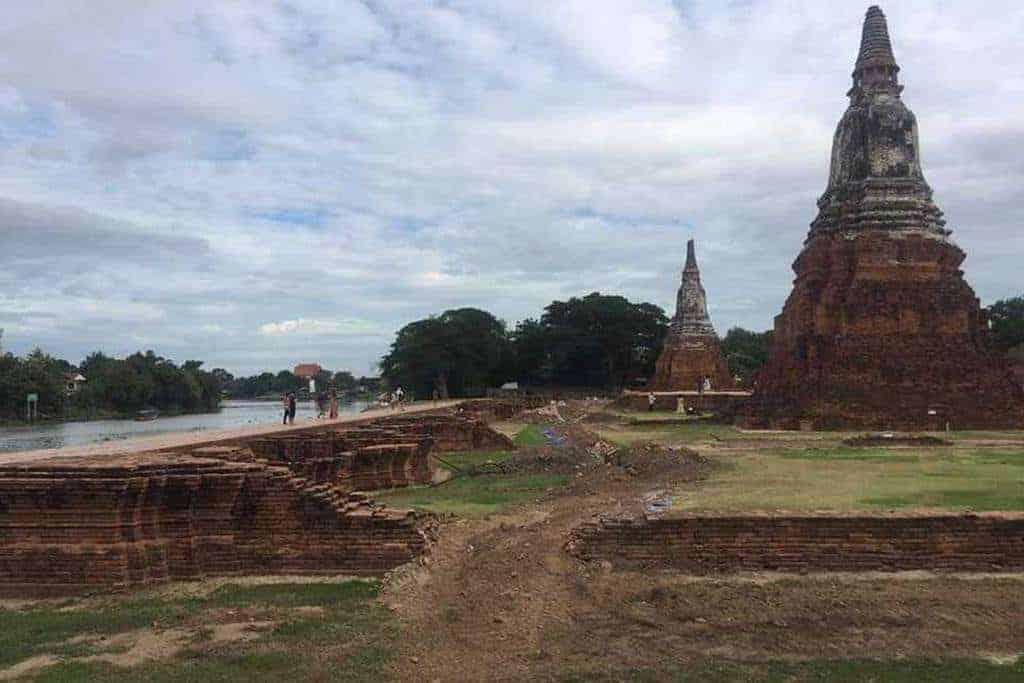 Damage (replica) walls of Wat Chaiwatthanaram in Ayutthaya. Source: Bangkok Post, 20190821