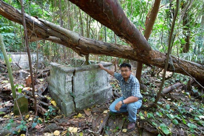 Researcher Sarafian Salleh, at the Marang Cemetery. Source: Straits Times, 20190826