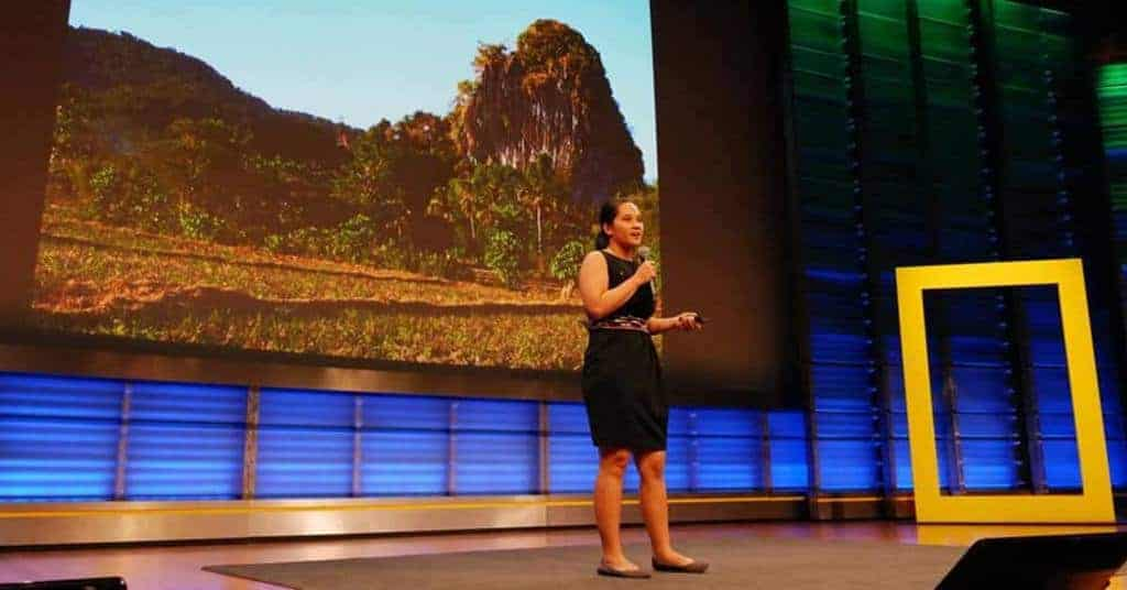 "Llenel ""Ellie"" de Castro, a young archeologist from University of the Philippines (UP), during her National Geographic presentation about her archeological work from New Ibajay, El Nido. Source: Palawan News 20190909"